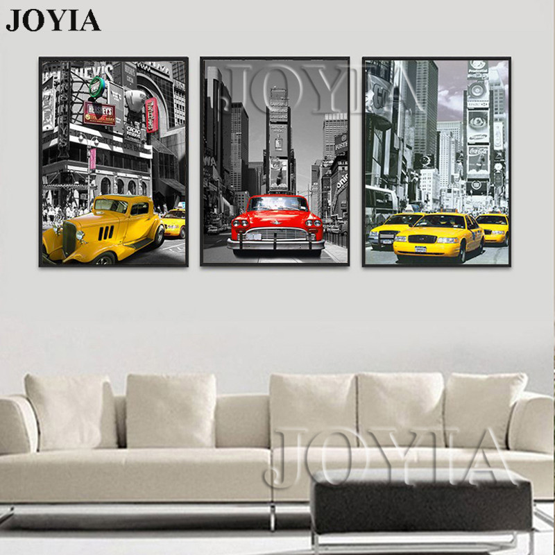 Triptych Modern Wall Pictures Car Picture Canvas Painting Urban Night Scene Printed Cuadros Decoration For Living Room No Frame