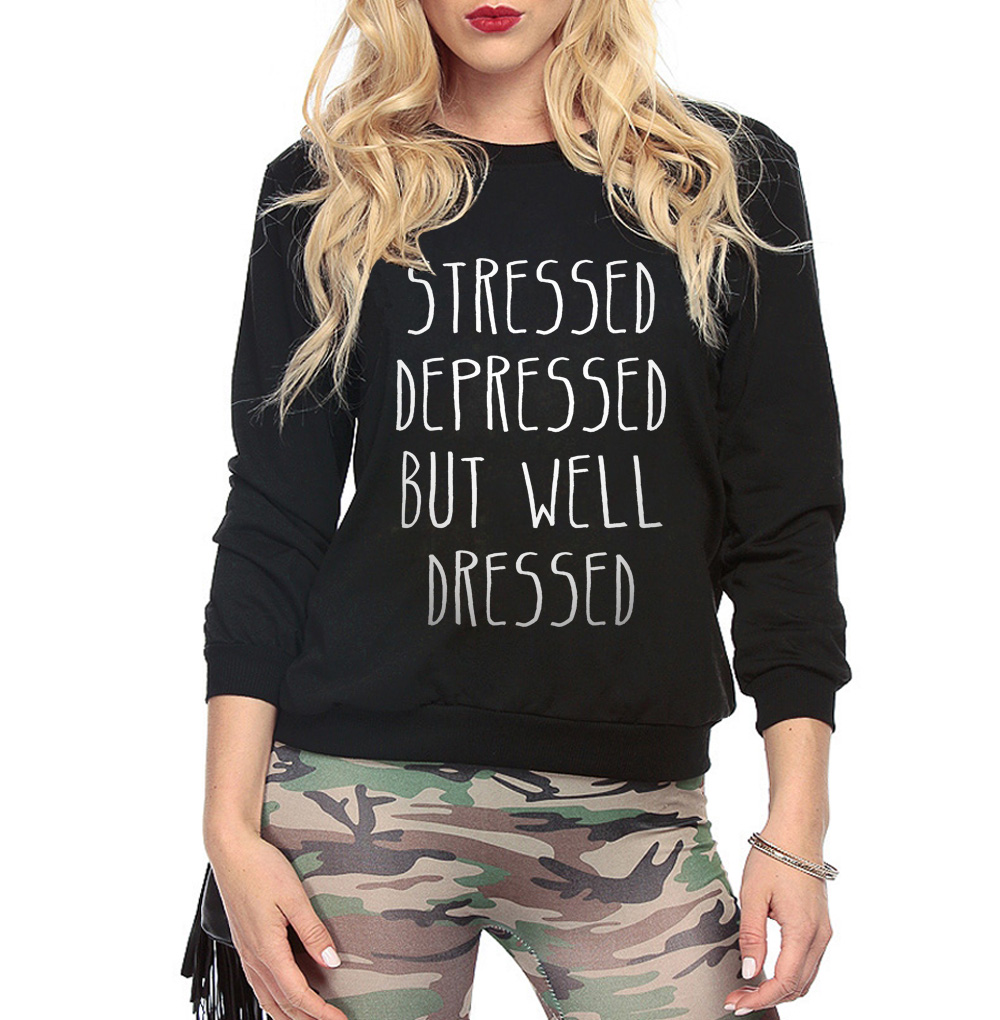 stressed depressed but well dressed letters printing 2017 new fashion autumn winter women hip hop sweatshirt cotton hoodies suit