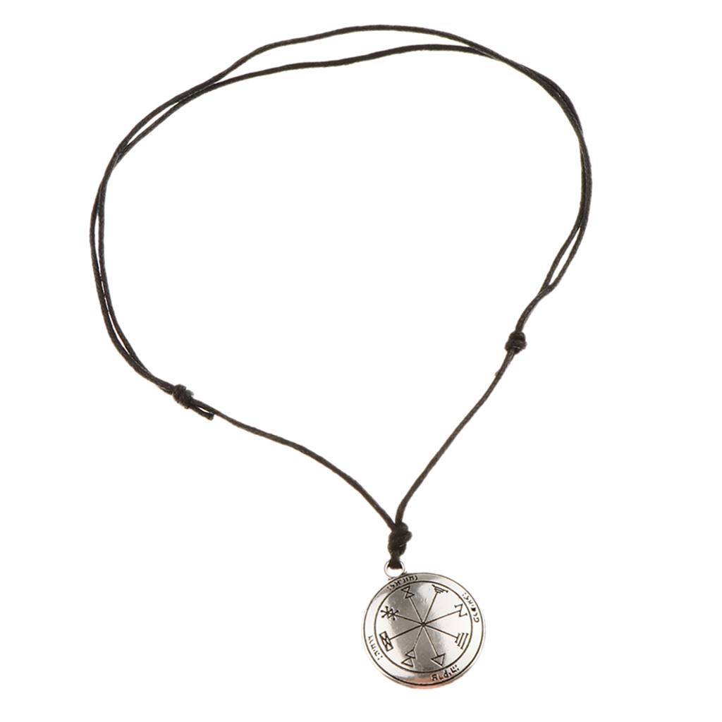 Vintage Bronze Sigil of Archangel Angel Talisman Amulet Necklace Pendant