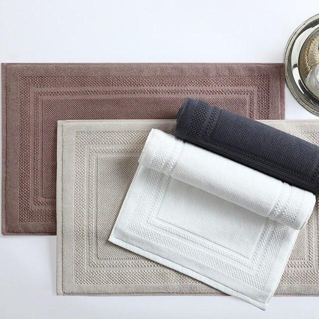 Modern 100%Cotton Solid Bath room Anti-slip Mat Hotel Shower Mat Rectangle Simple Water adsorption Door mat/Carpet Toilet Rug
