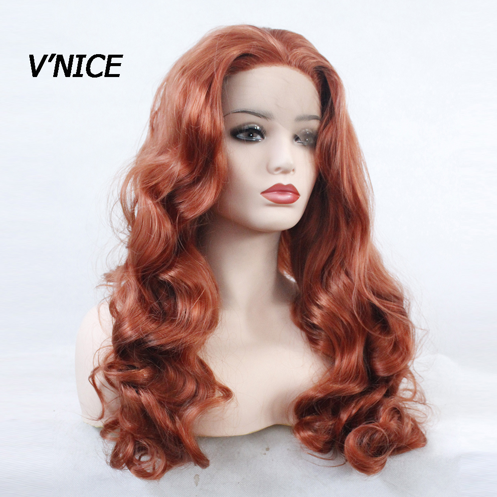 V NICE Synthetic Lace Front Wig Hand Tied Red Body Wave Wig Natural Glueless Orange High
