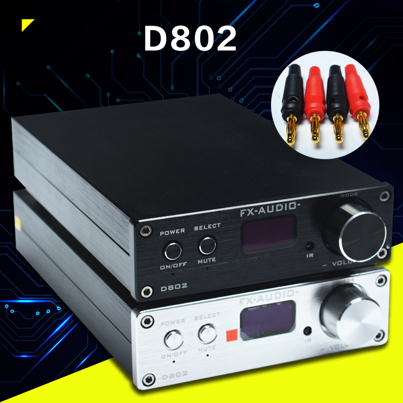 FX-Audio D802 Remote Control Input USB/Coaxial/Optical HiFi 2.0 Pure Digital Audio Amplifier 24Bit/192KHz 80W+80W OLED Display aeg bss 4818 pink bluetooth аудиосистема