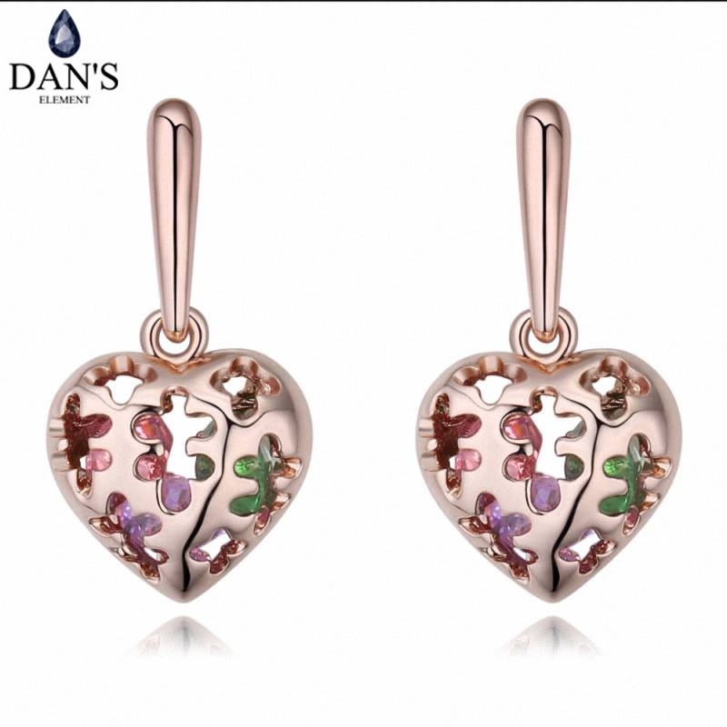 DANS 2 Colors Real Austrian crystals Stud earrings for women Earrings s New Sale Hot Round 127080