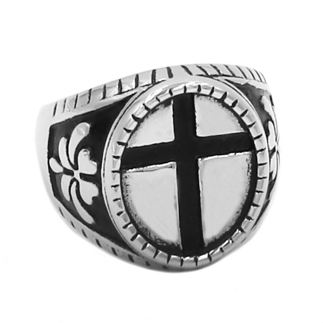 Classic Cross Ring Stainless Steel Jewelry Trendy Flower Pattern