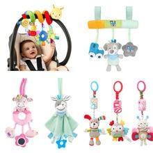 아기를위한 장난감 부드러운 동물 플러시 아기 딸랑이/모바일 장난감 매달려 유모차 벨 아기 장난감 유아용 침대 딸랑이 장난감 0 12 개월