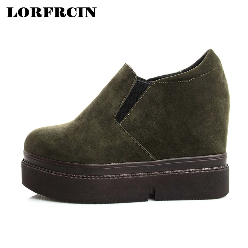 LORFRCIN Women Shoes 10cm Height Increasing Spring Autumn Platform Ankle Boots Fashion Black Hidden Heel Casual Shoes Woman 2017 free shipping spring autumn women s flatform casual all match board shoes height increasing shoes