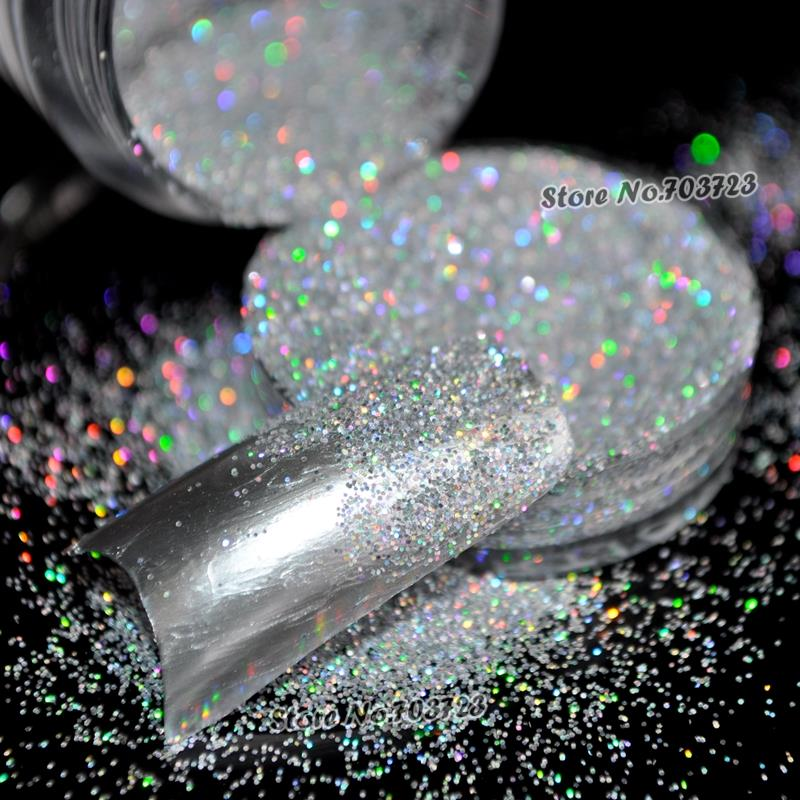 Holographische Laser Silber Glitter UV Nail Art Pulver Feinstaub - Nagel Kunst - Foto 3
