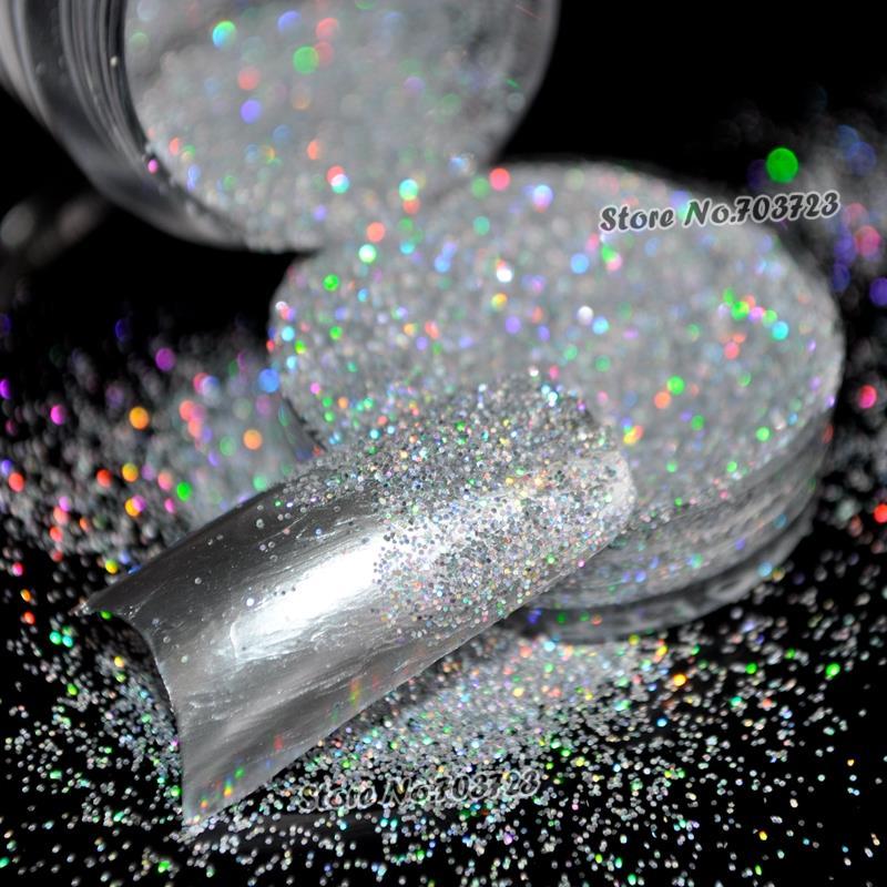 Láser holográfico Glitter de plata UV Nail Art Powder Decoración - Arte de uñas - foto 3
