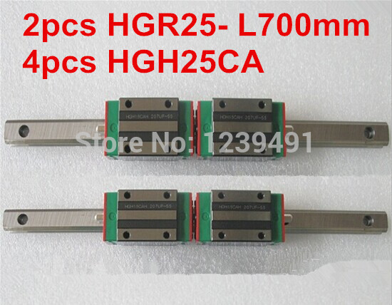 2pcs HIWIN linear guide HGR25 -L700mm with 4pcs linear carriage HGH25CA CNC parts