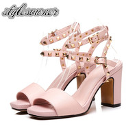 Stylesowner Korean Style with Rivet Fashion Luxury Woman Sandals Genuine Leather High Heels 8.5CM Open Toe Pink Female Sandals