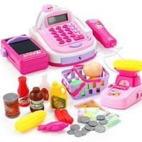 Children Pretend Play Toys Supermarket Shopping Cart Girls Simulation Cashier Toys Swipe Scanning Amplification Calculation Set