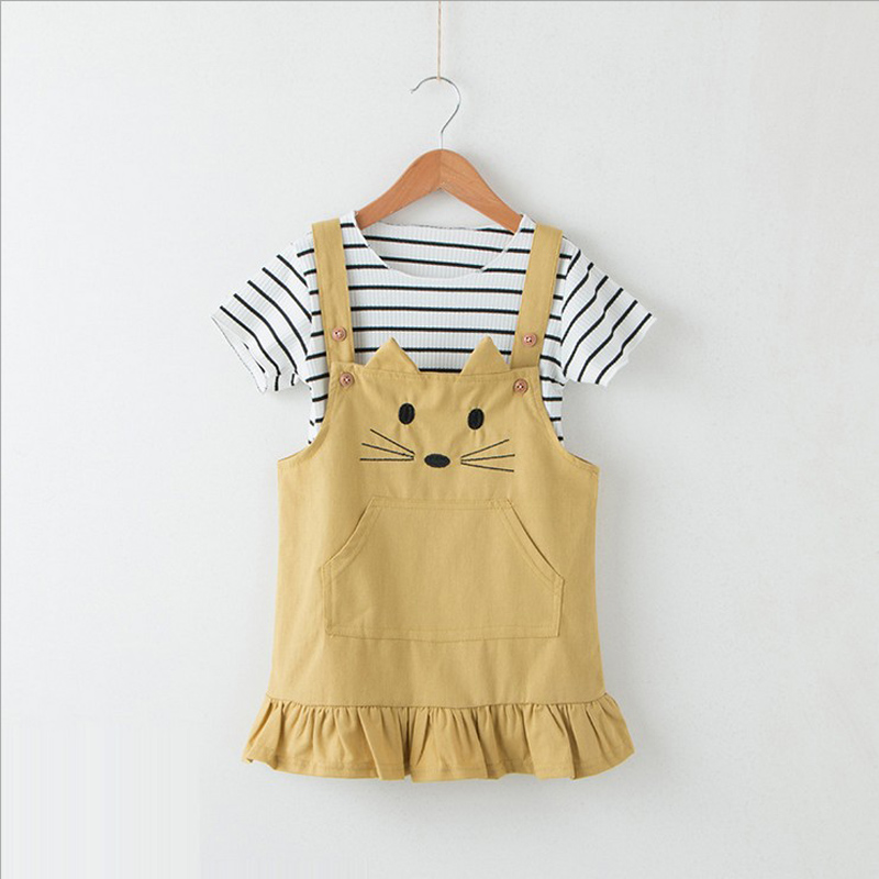 GirlS Clothes 2018 Summer Leisure Children Clothes Collection Of Cute Cat Sundress + Striped Shirt Suit Children 2 Pc 3-7y