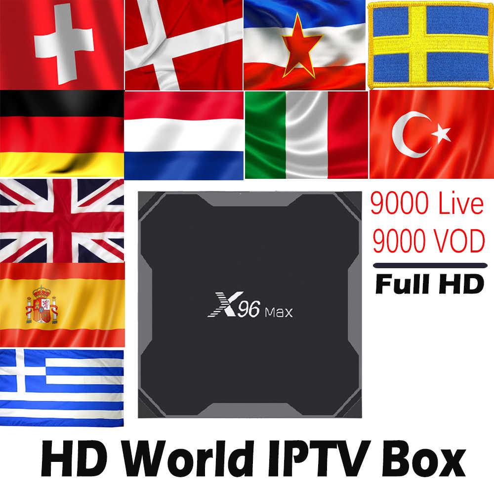 X96 MAX 2G16G/4G32G/4G64G Android 8,1 ТВ-бокс с 9000 Live 9000 VOD World северно-Европейский Израиль Испания голландский HD мультимедийный проигрыватель с IPTV