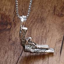 Classic Mens Stainless Steel Pistol Gun Revolver Pendant Necklace Men Army Style Biker Hip Hop Choker Vintage Jewelry(China)