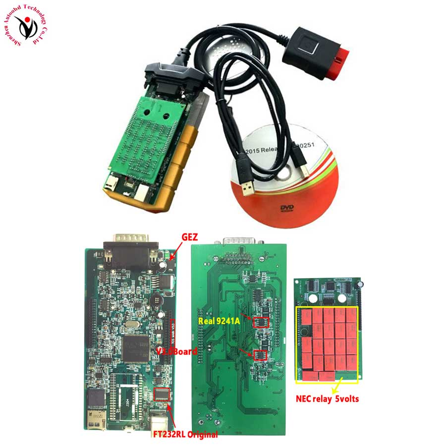 Vci v3.0 PCB. R3 Keygen/. R0+ активировать Bluetooth TCS CDP pro obd2 OBDII OBD II Автосканер автомобилей/грузовиков - Цвет: yellow V3.0 NO BT