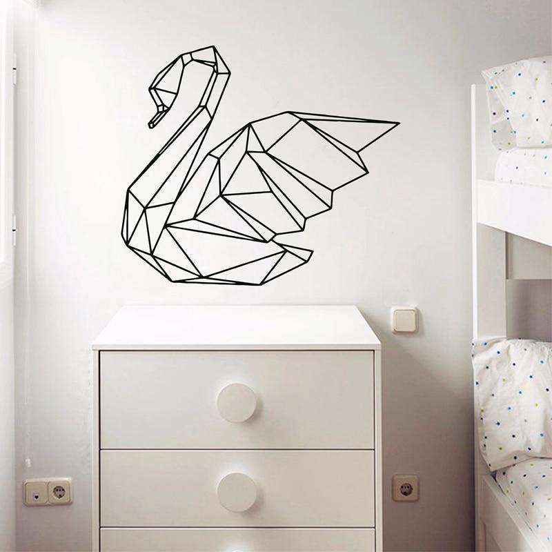 Geometric Swan Wall Decal Australian Made Geometric Animal Wall Art Black and White Swan Home Decor Vinyl Wall Stickers