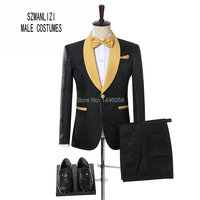2018 Elegant Brand Groom Tuxedos Groomsmen One Button Black Flower Gold Shawl Lapel Custom Made Formal