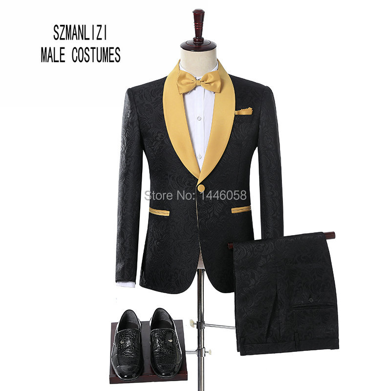 2018 Elegant Brand Groom Tuxedos Groomsmen One Button Black Flower Gold Shawl Lapel Custom Made Formal Best Man Men Wedding Suit