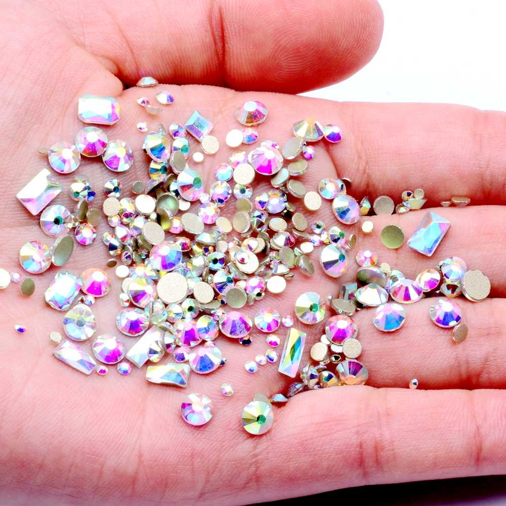 New York Storm Mixed Size Colorful Rhinestones for Nails 3D Crystal Stones Nail Art Decoration DIY Design Manicure Diamonds