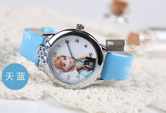 2017New Cartoon Children Watch Princess Elsa Anna Watches Fashion Girl Kids Student Cute Leather Sports Analog Wrist Watches hot lovely watch new year gifts for children s wrist watch analog quartz watches kids watches rabbit cartoon yellow leather band