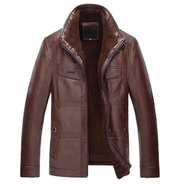 ZOEQO Leather Jacket Men jaqueta de couro masculina Men's Thick PU leather coat Men casual Winter Faux Fur Fleece Jacket Male
