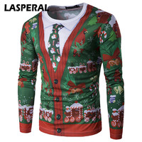 LASPERAL 2017 Autumn New Men S T Shirts Brand Casual Christmas Style Christmas Trees Printed Mens