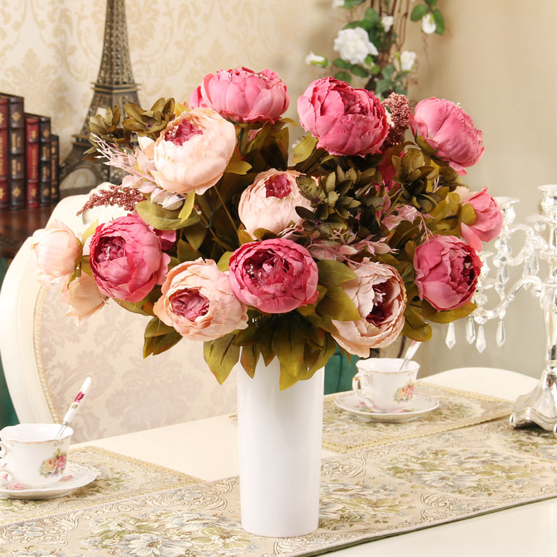 13 heads Bouque Christmas Artificial Flowers silk flower European Fall Vivid Peony Fake Leaf Wedding Home