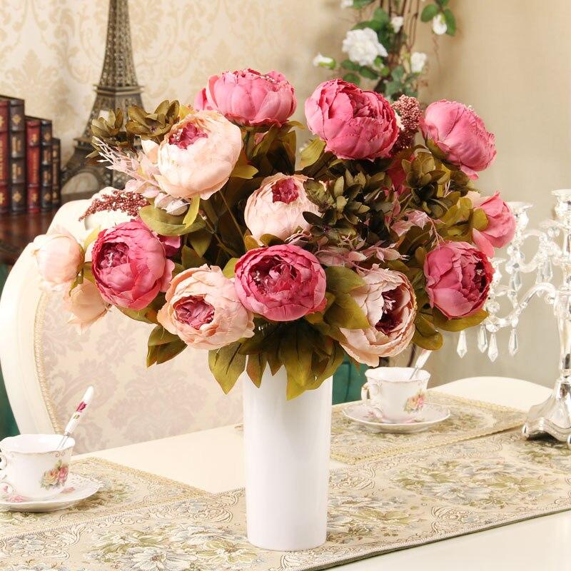 13 jefes/Bouque de Navidad flores artificiales de seda flor Europea otoño vivos peonía DE BODA inicio decoración de la fiesta