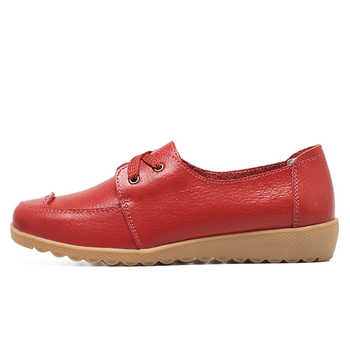 O16U Women Casual Shoes Genuine Leather Lace up Moccains Round Toe Rubber Sole Boat Shoes Flats Women Retro Ballet Flat Shoes