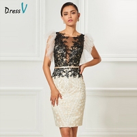 Dressv Scoop Neck Cocktail Dress Sheath Appliques Sashes Knee Length Sleeves Elegant Cocktail Dress Formal Party