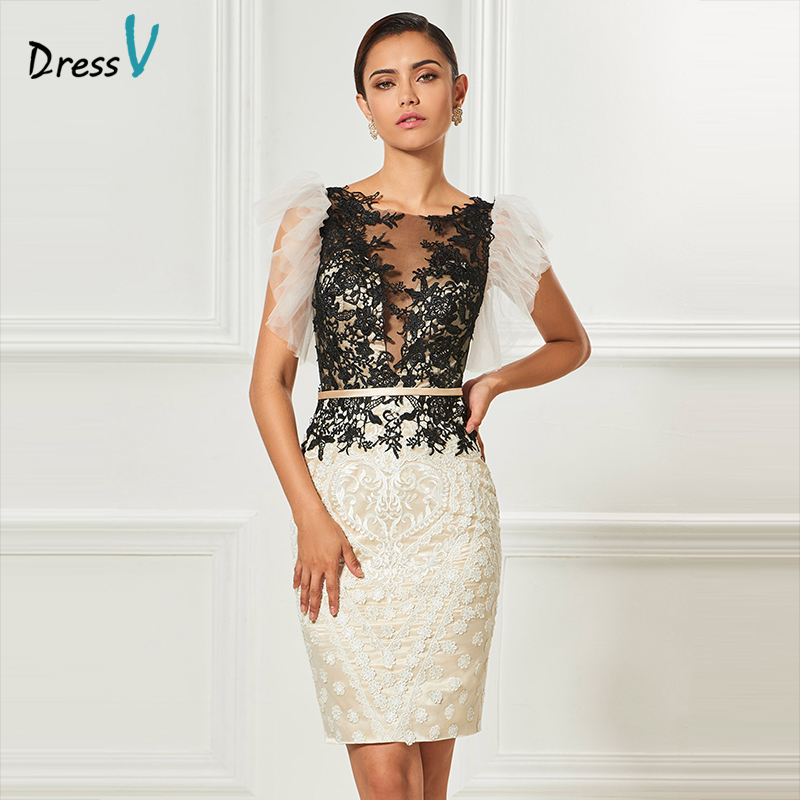 Dressv scoop neck cocktail dress sheath appliques  sashes knee length sleeves elegant cocktail dress formal party dress