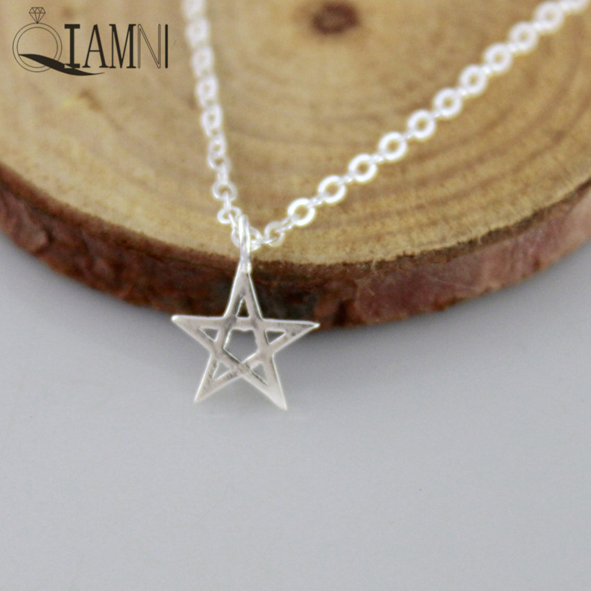 QIAMNI Minimalist Jewelry Lucky Star Geometry Choker Necklaces Pendant Women Girls Charm Christmas Gift