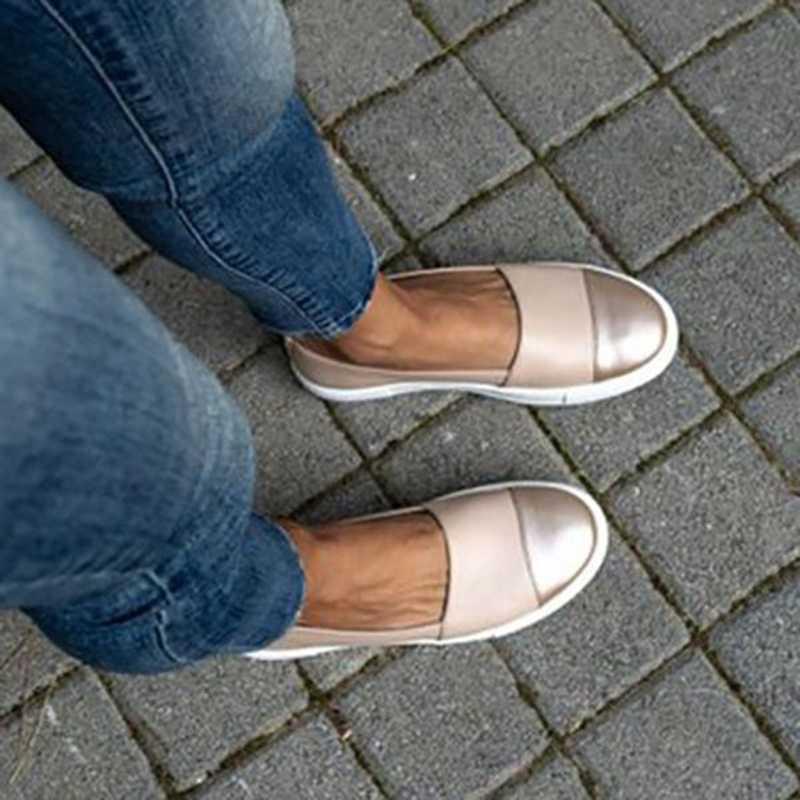 SHUJIN Mùa Xuân 2019 Phụ Nữ Da Cho Nữ Trơn Ba Lê Đế Trắng Đen Giày Slip On Giày Đi Dạo Thuyền Giày Mộc Mạch Trà