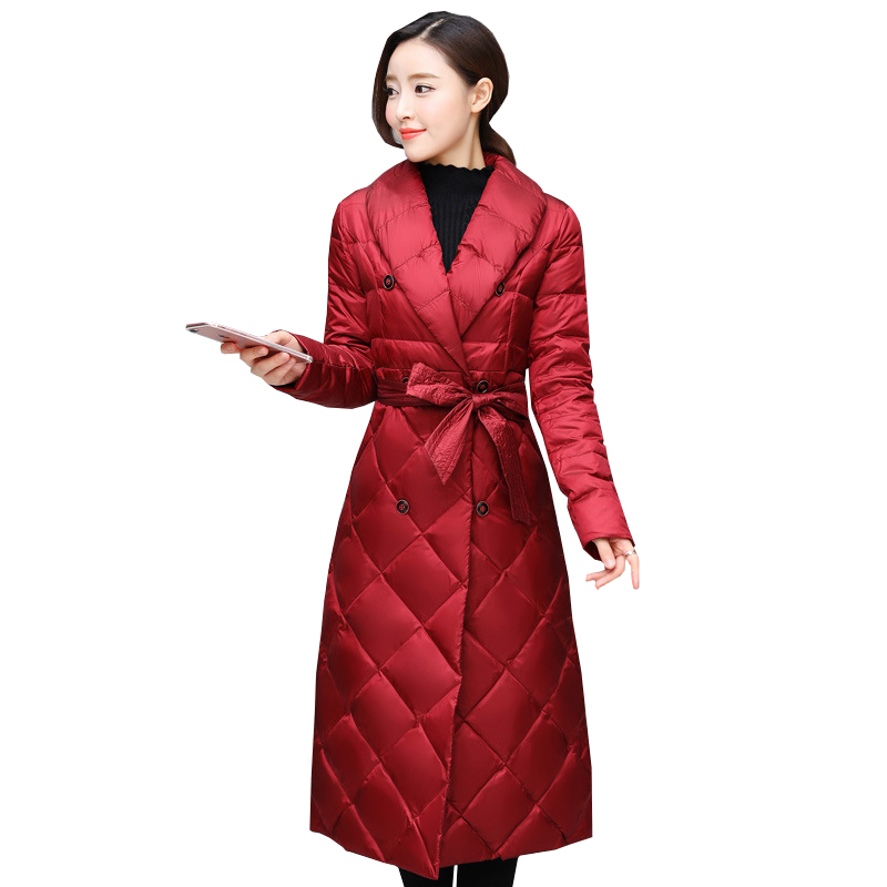 New Autumn Winter Fashion Sashes White Duck   Down     Coat   Women Slim High Waist   Down   X-Long Jacket Windproof Female Outwears Mw555