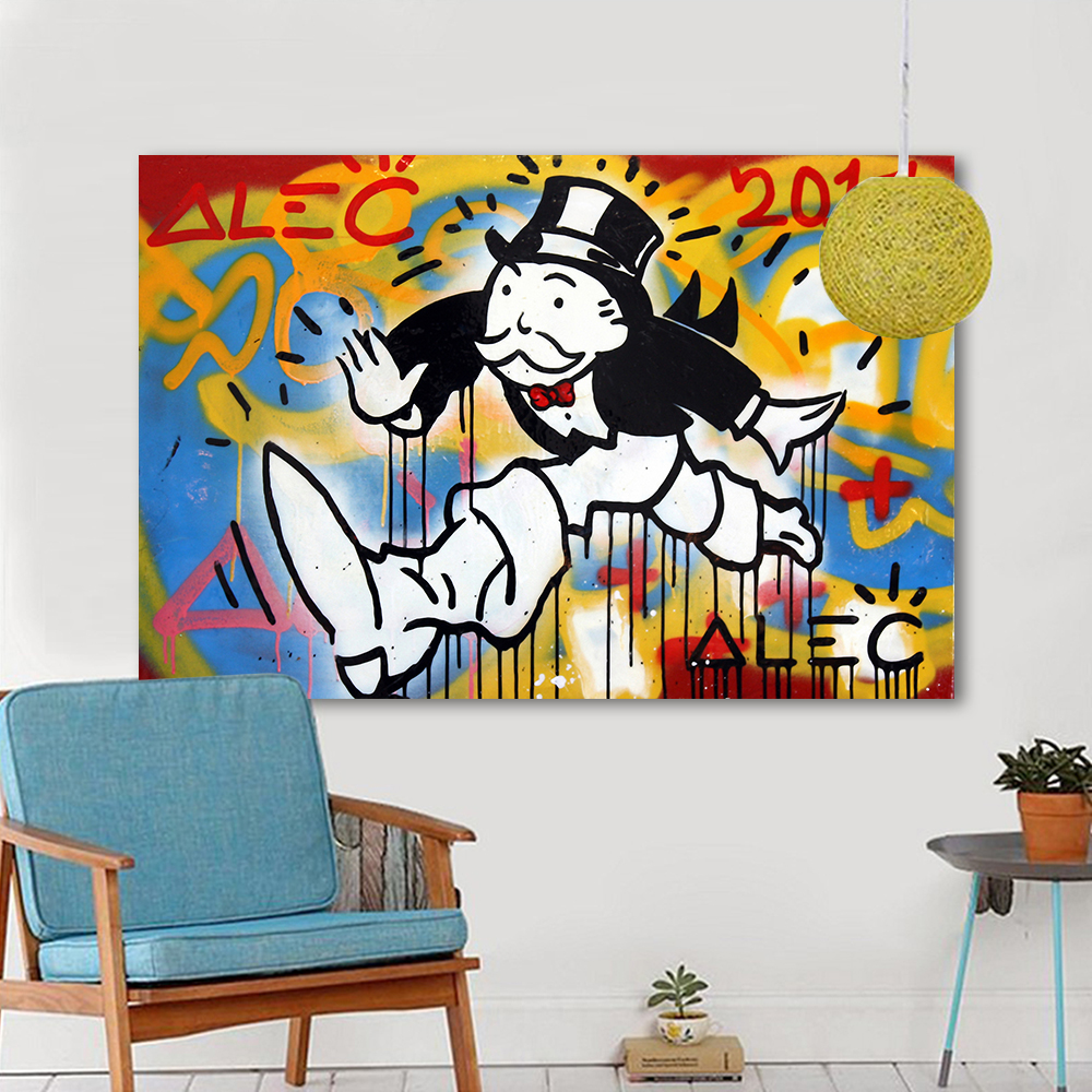 Graffiti art home decor - Hdartisan Graffiti Canvas Art Oil Painting Alec Monopoly Take Away With Andy Wall Pictures For Living Room Home Decor Frameless