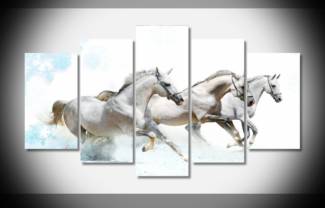 8368 white 3 horse poster Framed Gallery wrap art print home wall ...