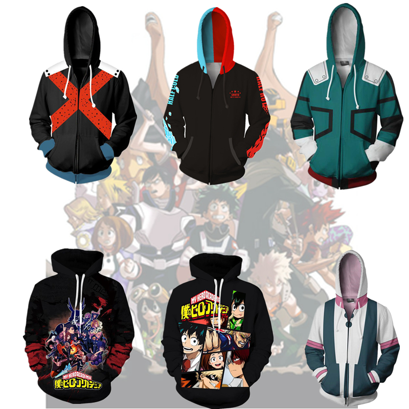 2019 Japanese Anime Boku No My Hero Academia Cosplay Costumes Hoodies H Sweatshirts Bakugou Todoroki Shoto Spring Jacket Coat