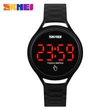 SKMEI 여자 스포츠 시계 터치 스크린 LED 디스플레이 PU 스트랩 여자 패션 캐주얼 시계 디지털 시계 손목 시계 방수 1230