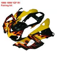 Top seLJing Fairings For YAMAHA YZF R1 98 99 ( YeLJow flames ) 1998 1999 Fairing kit +7gifts LJ53