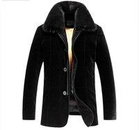 Для мужчин Золотой Норки Мех животных Внутри на бархат В виде ракушки пальто роскошный подлинной Мех животных пальто для Для мужчин Съемный