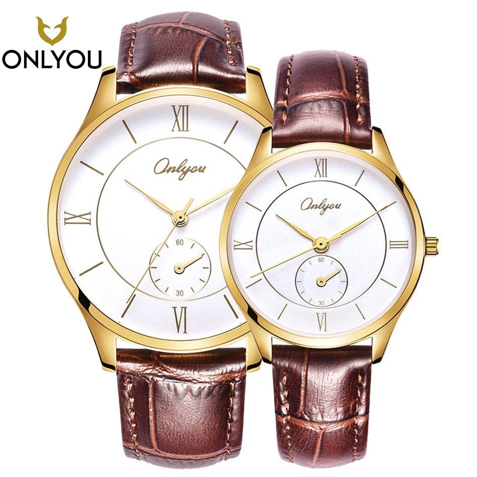 2017 Wristwatch Men Watches ONLYOU Lovers Watch Luxury Brand Popular Famous Male Clock Gold Quartz Watch Classical Women Watches