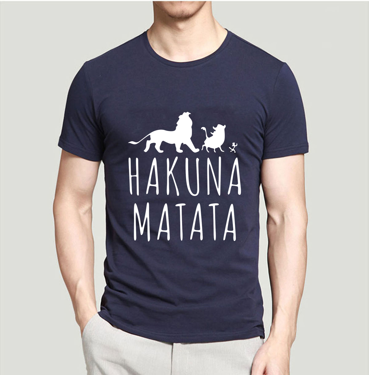HAKUNA MATATA Men T Shirt 2019 Summer 100% Cotton High Quality Men T Shirt Slim Fit Casual Anime T-Shirt The Lion King Tops Tees(China)