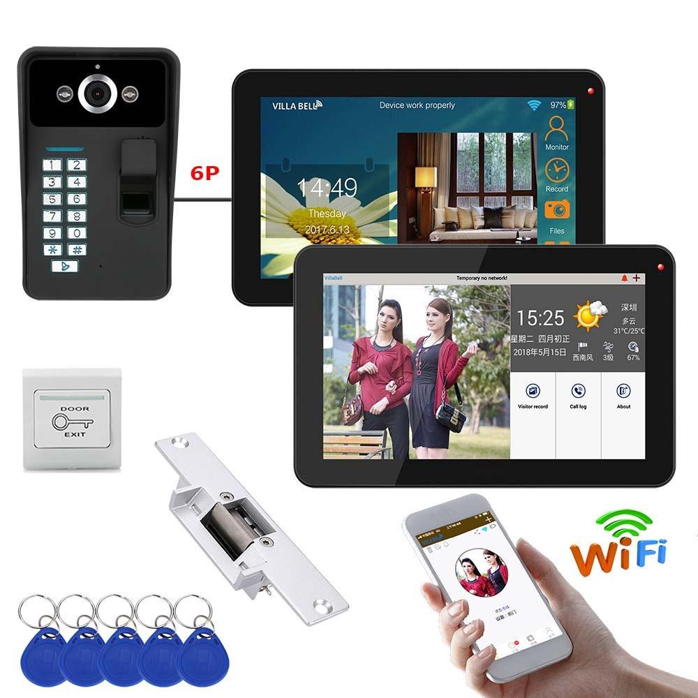 9 Inch 2 Monitors Wired / Wireless Wifi Fingerprint Video Door Phone Doorbell Intercom System With Electric Strike Lock
