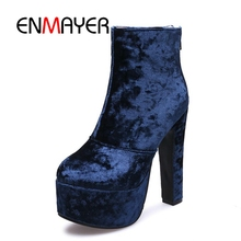 ENMAYER Fashion 2018 Ankle Boots Women shoes Plus Size 34-43 Autumn Winter Round toe Platform  Shoes Thin heel CR392
