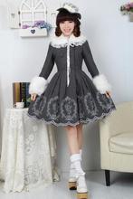 Lovely Gray  Winter Cute Lolita Coat Winter Long Cotton Coats All Size