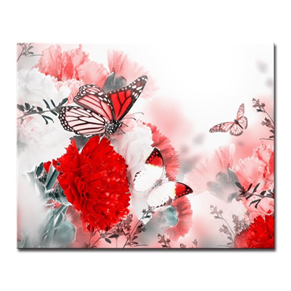 Painting By Numbers DIY Digital Red Flower Butterfly Oil Pictures On ...