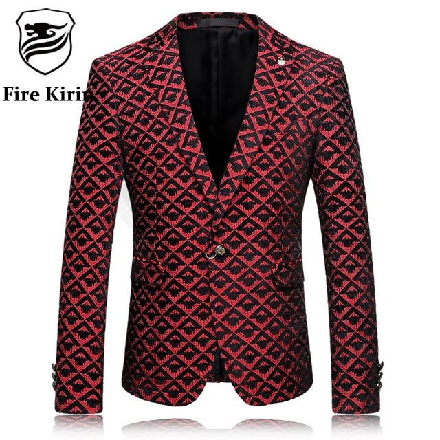 Kirin fuego Hombres Floral Blazer 2017 Marca Ropa Vino Tinto Blazer Masculino Slim Fit Prom Traje de Boda Blazers Escudo Casual Q55