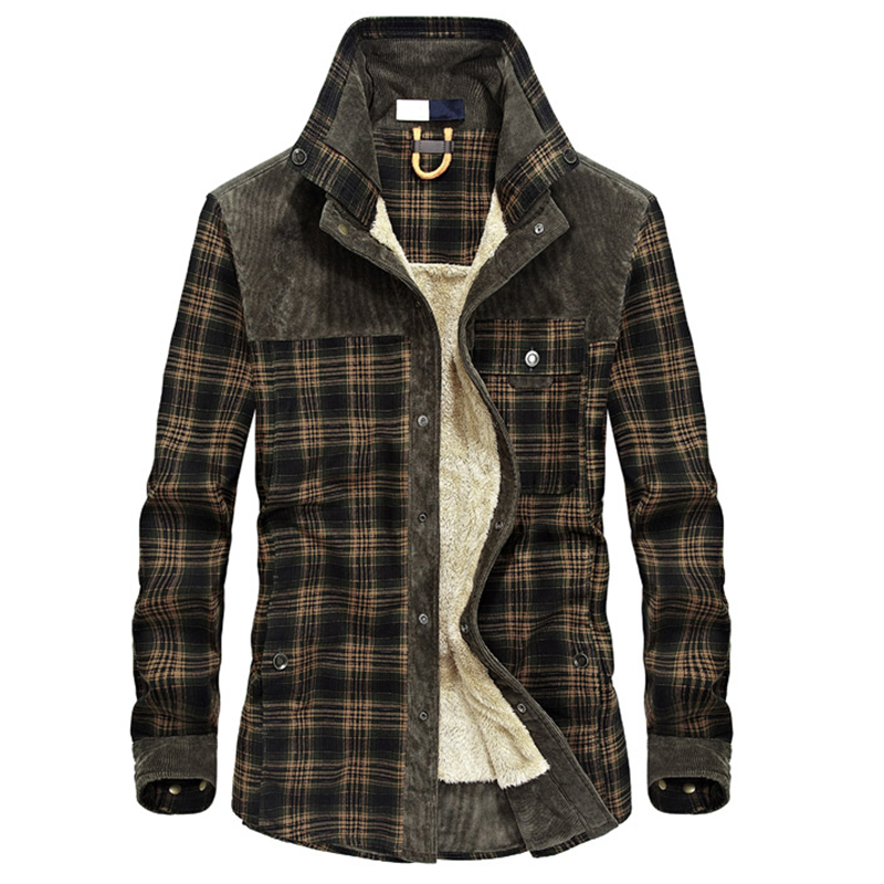 <font><b>Men</b></font> Autumn Winter Thick Fleece Plaid <font><b>Shirts</b></font> Camisa Masculina Male Casual Sailor Jacket Warm image