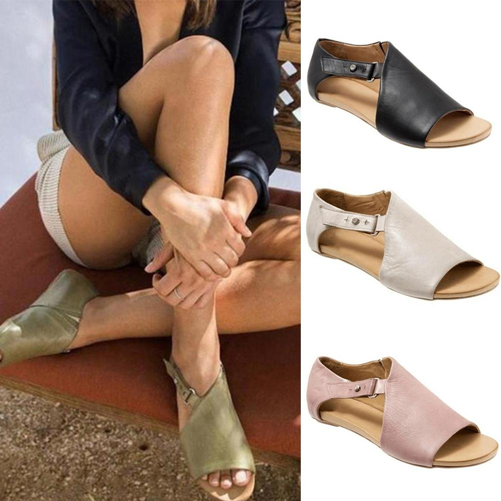Women Leather Flat Sandals Buckle Strap Slippers Fish Mouth Summer Shoes