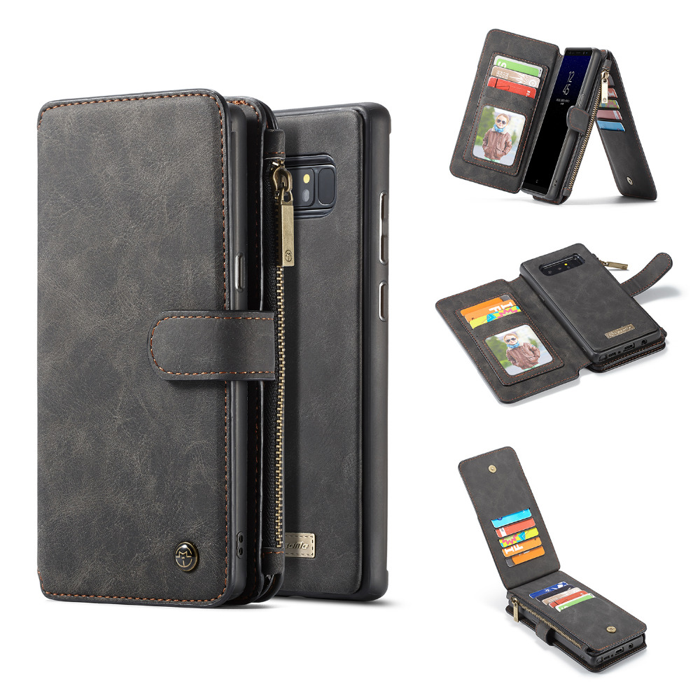 2 In 1 Magnetic Flip Folio Phone Wallet Samsung Galaxy S8 Plus S8 S8plus Note 8 Card Slot Holder